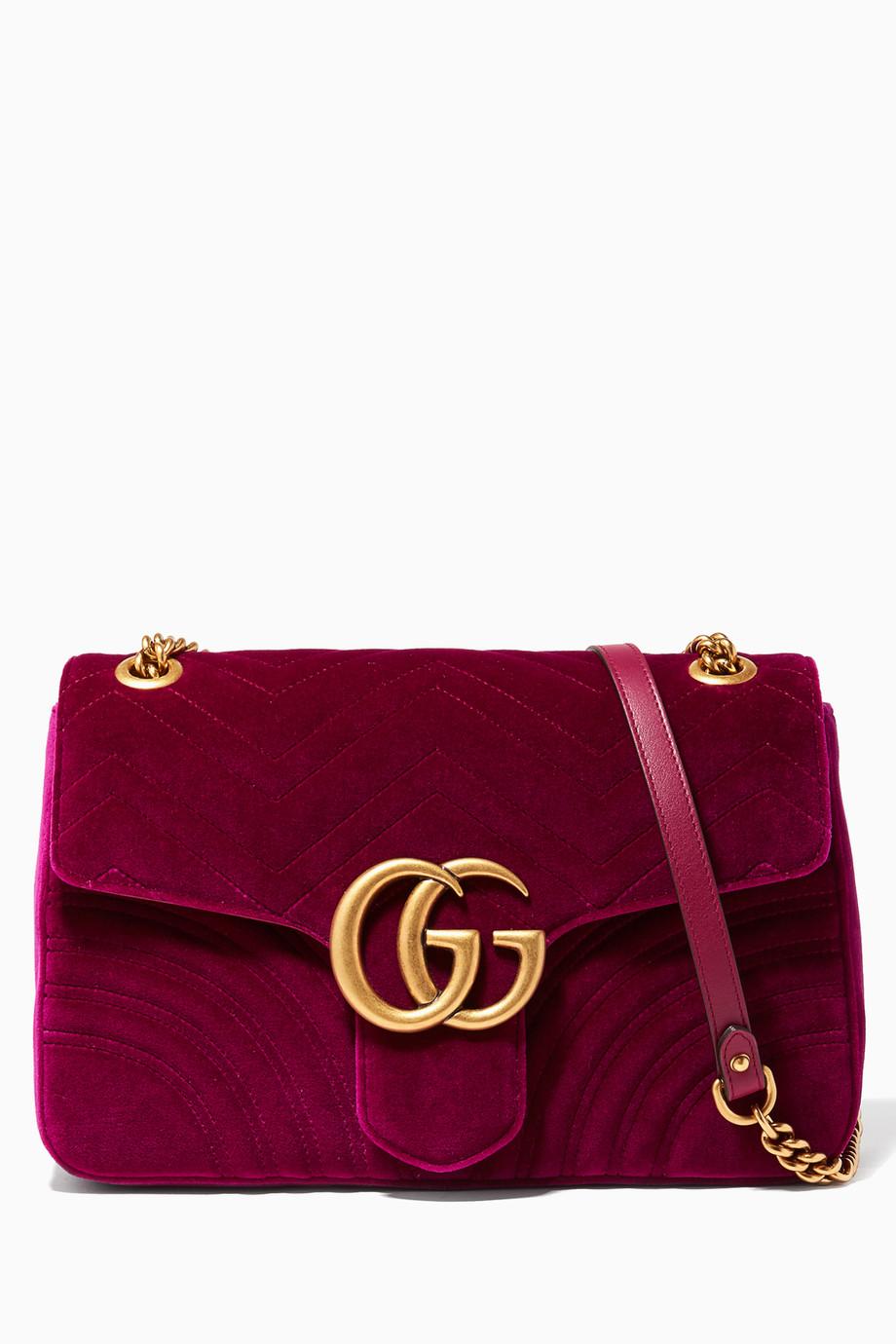 4133d8498a38 Shop Gucci Pink Fuchsia GG Marmont 2.0 Velvet Quilted Medium ...