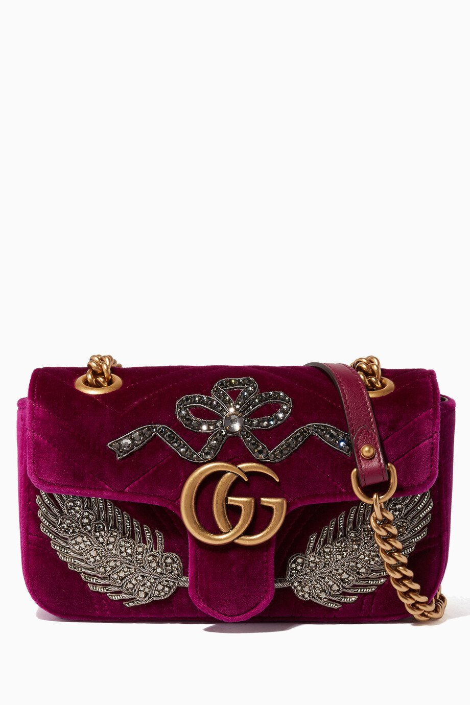 001e7db3d79ba2 Shop Gucci Pink Purple Mini GG Marmont 2.0 Velvet Shoulder Bag for ...