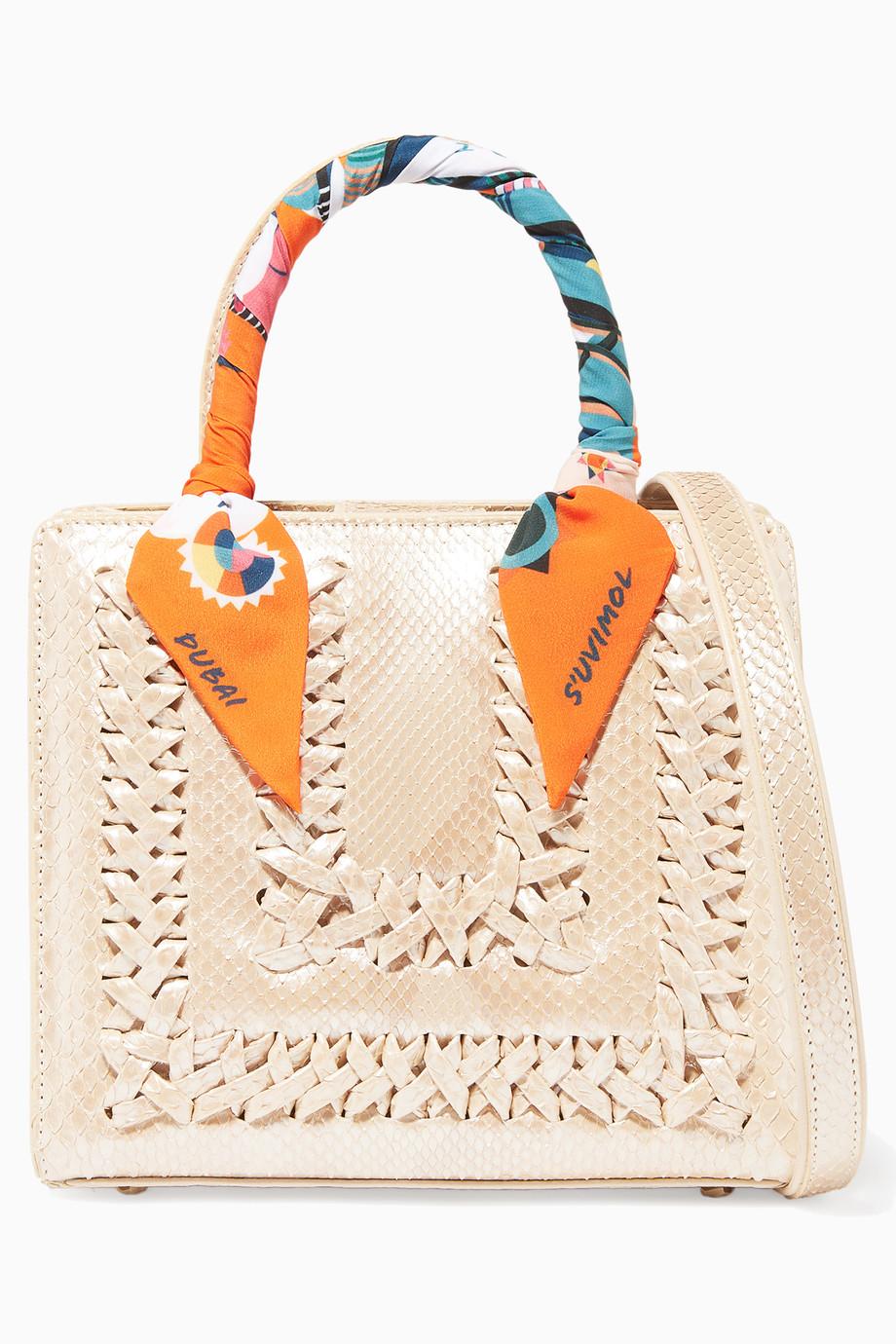 ed0f2265ee891 تسوق حقيبة ميني سويت صندوقية جلد افعى بيضاء ثلجية S uvimol لون طبيعى للنساء