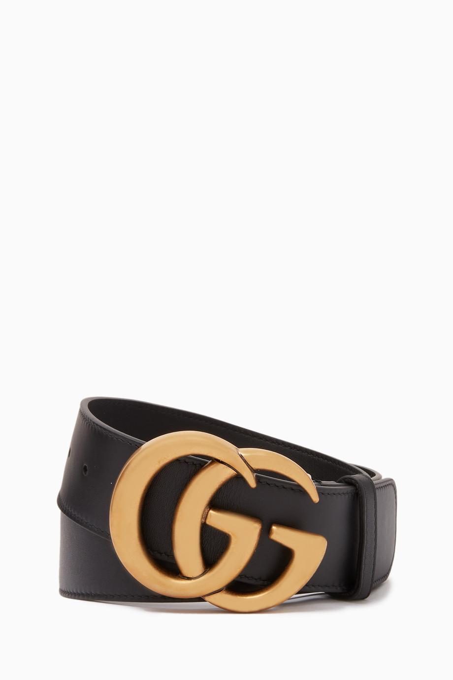 f7013e296 Shop Gucci Black Black Double G Buckle Leather Belt for Women ...