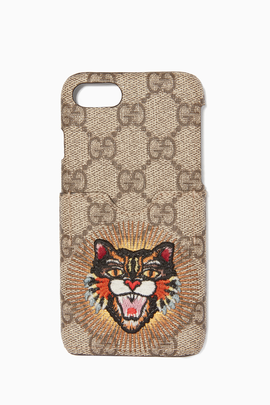 Shop Gucci Neutral Brown Angry Cat iPhone® 7 Phone Case for