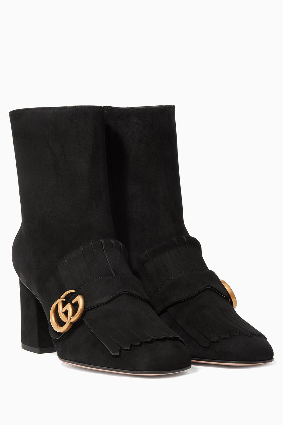 bed55de57 Shop Gucci Black Black Marmont Suede Booties for Women | Ounass