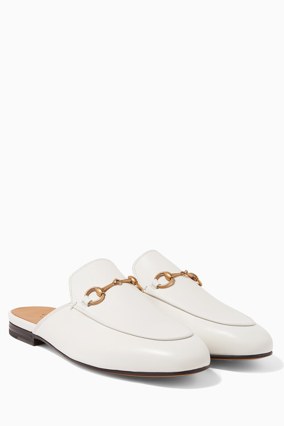 dbb171d9 Shop Gucci White Mystic White Leather Princetown Loafer for Women ...