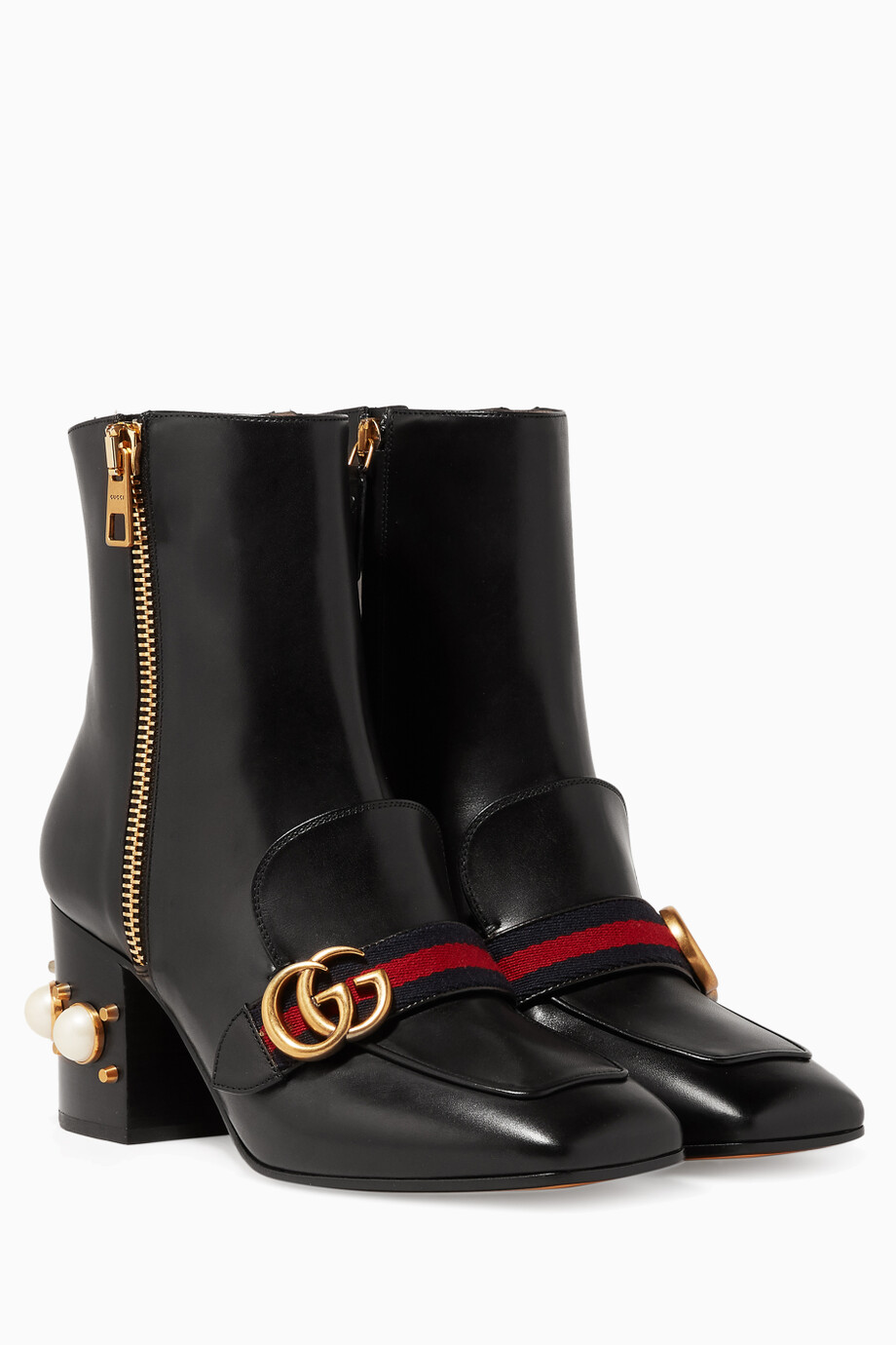450575bd71c Shop Gucci Black Black Leather Pearl-Embellished Ankle Boots for ...