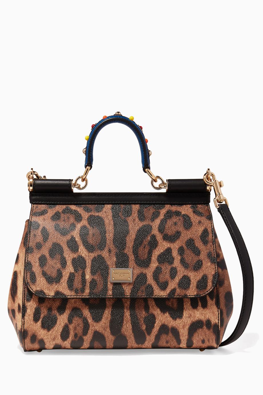 278341b37eff Shop Dolce   Gabbana Brown Leopard Print Medium Sicily Top Handle ...