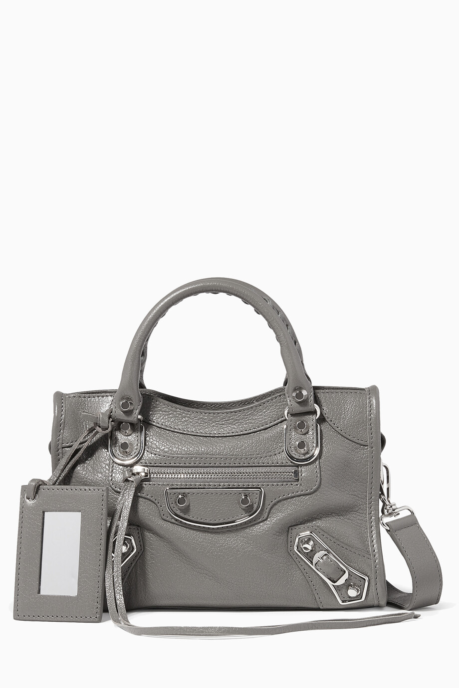 76a8c196fae Shop Balenciaga Grey Dark-Grey Metallic Mini Classic City Edge Shoulder Bag  for Women | Ounass Kuwait