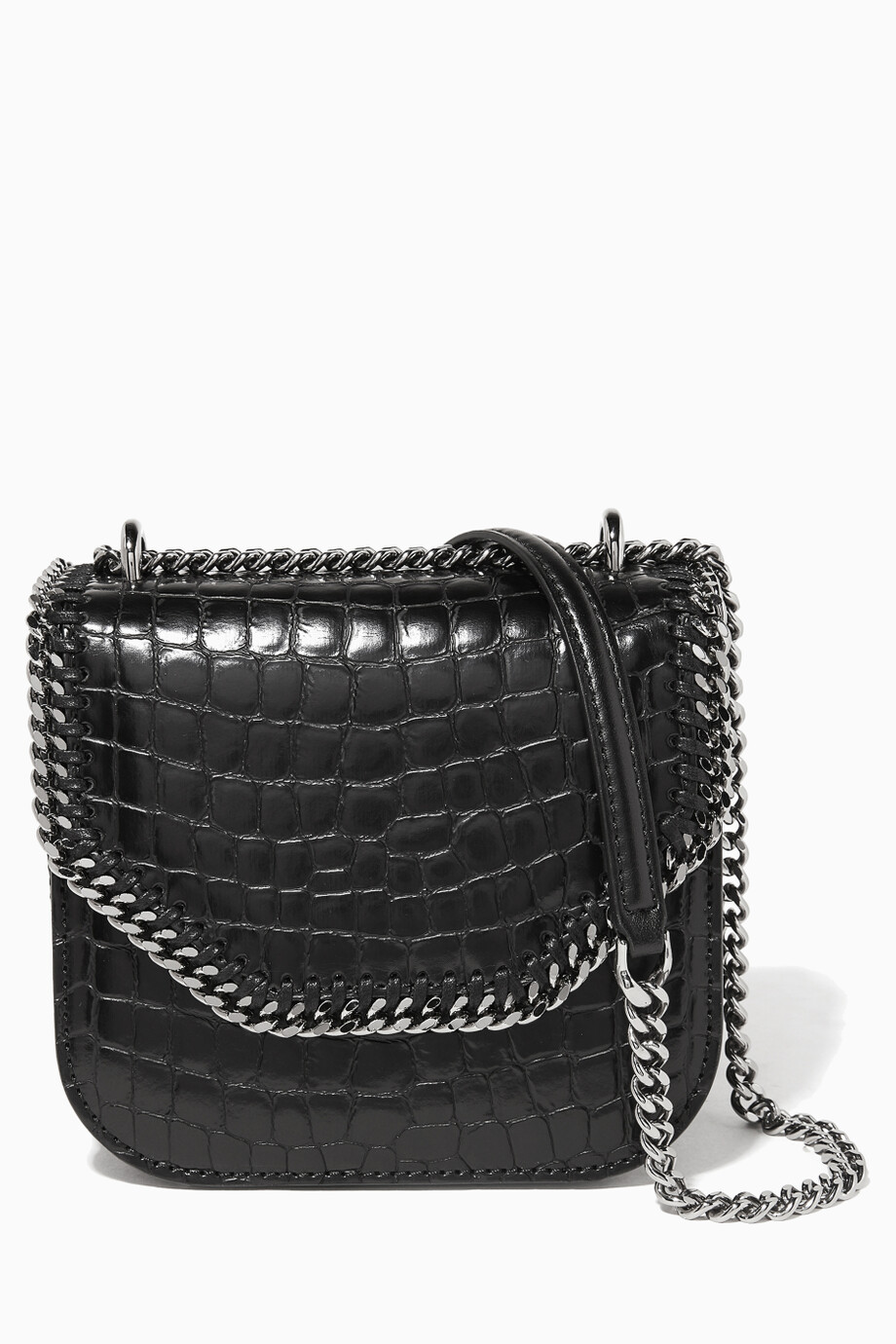 cd1bdec54815 Shop Stella McCartney Black Black Alter-Croc Mini Falabella Box ...