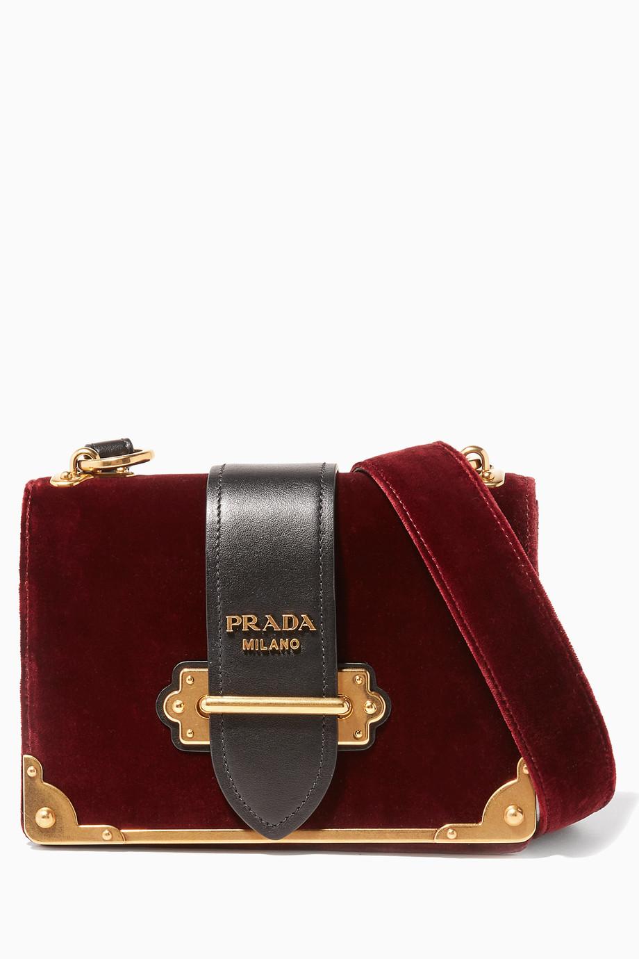 Shop Prada Red Red   Black Velvet Cahier Shoulder Bag for Women ... 6abc3ead76281
