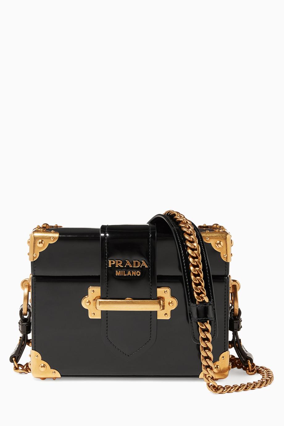 36105aebde3e Shop Prada Black Black Treasure Trunk Box Bag for Women | Ounass Kuwait
