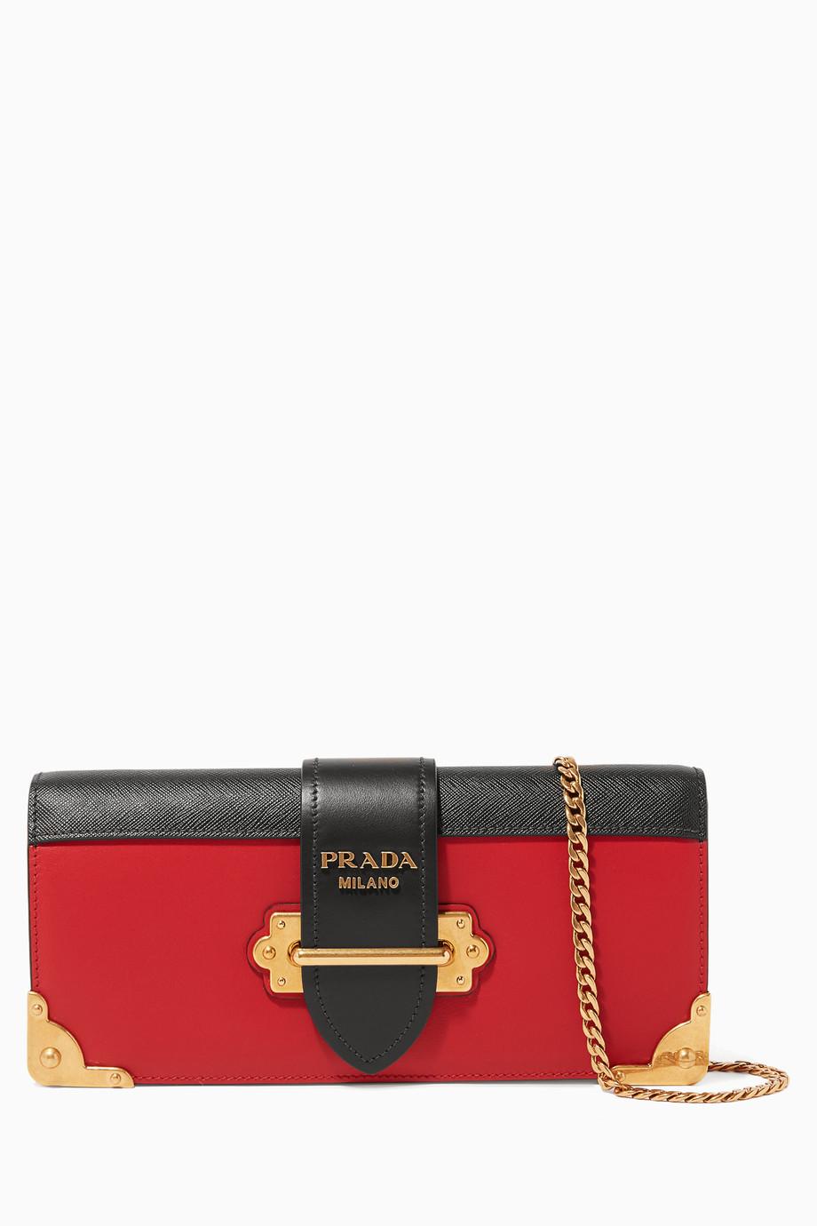 fdd2f33e3 تسوق حقيبة كروس كاييه جلد اسود واحمر Prada أحمر للنساء   اُناس السعودية