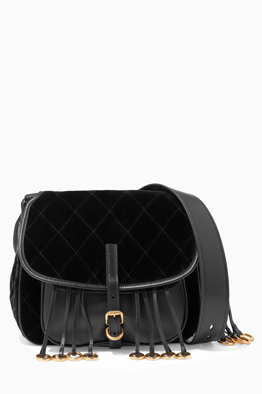 8f4e5473d5a1 Shop Prada Black Black Quilted-Velvet & Leather Corsaire Shoulder Bag for  Women | Ounass UAE