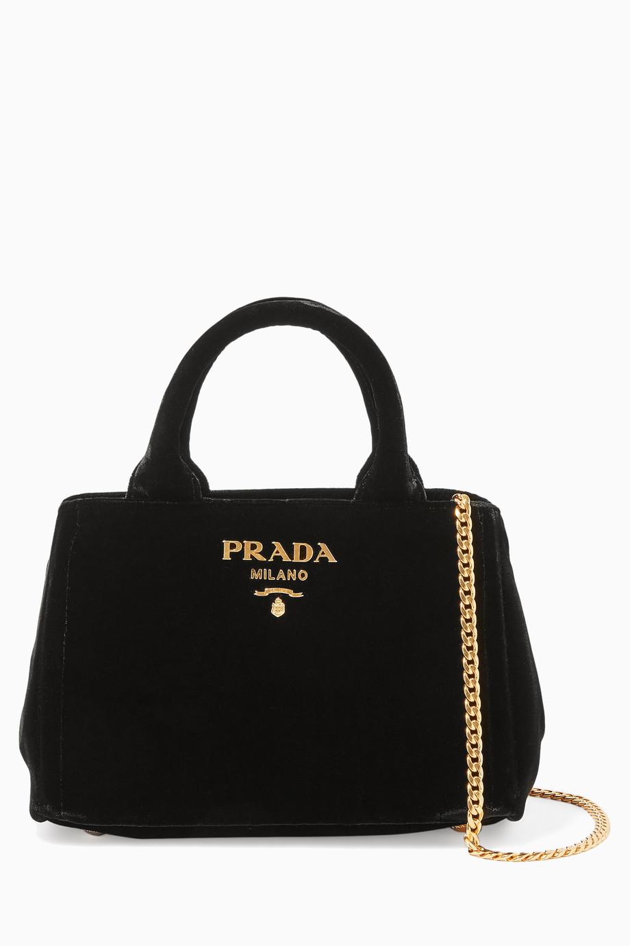 b8e8e1d34 تسوق حقيبة يد مخمل اسود ميني Prada أسود للنساء   اُناس السعودية