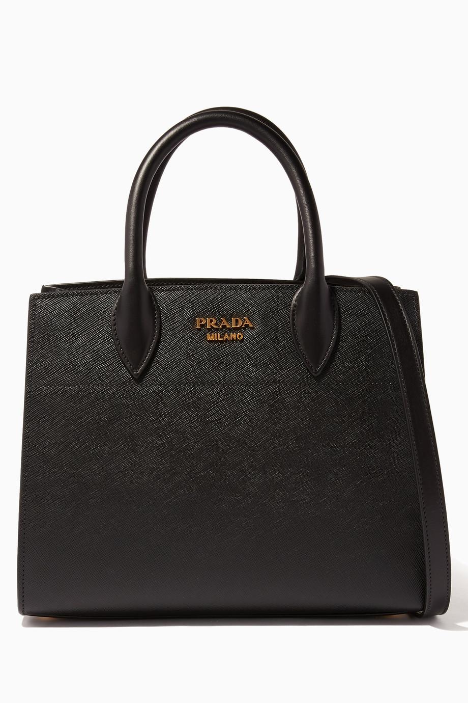 e1e5c5ff59dc Shop Prada Black Black Medium Saffiano Bibliothèque Tote Bag for Women    Ounass UAE