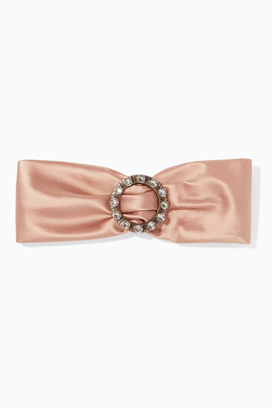 67c411b26037 Shop Miu Miu Neutral Blush Crystal-Brooch Silk Headband for Women ...