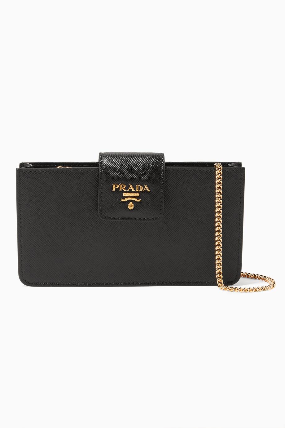 on sale a8306 a9c26 Shop Prada Black Black Saffiano iPhone Chain Wallet Shoulder Bag for ...