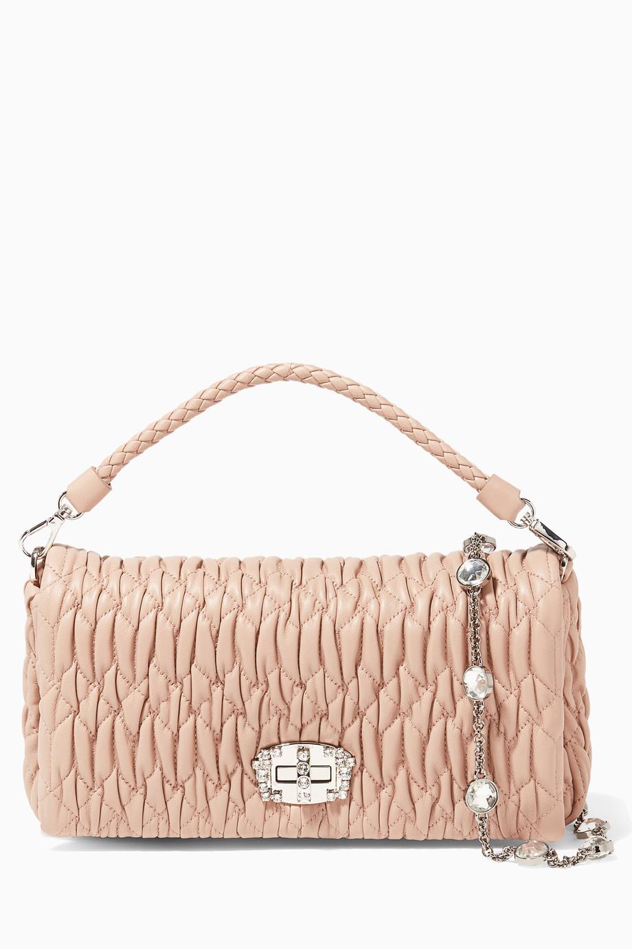 2bc05283577 Shop Miu Miu Pink Light-Pink Matelassé Crystal-Embellished Leather ...