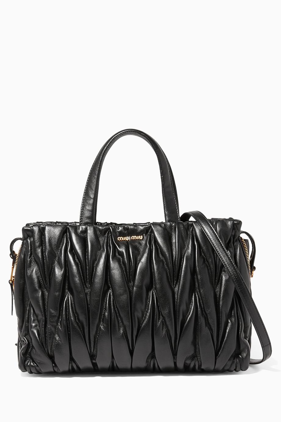 ea23da8cef8b Shop Miu Miu Black Black Matelassé Medium Tote Leather Shoulder Bag for  Women
