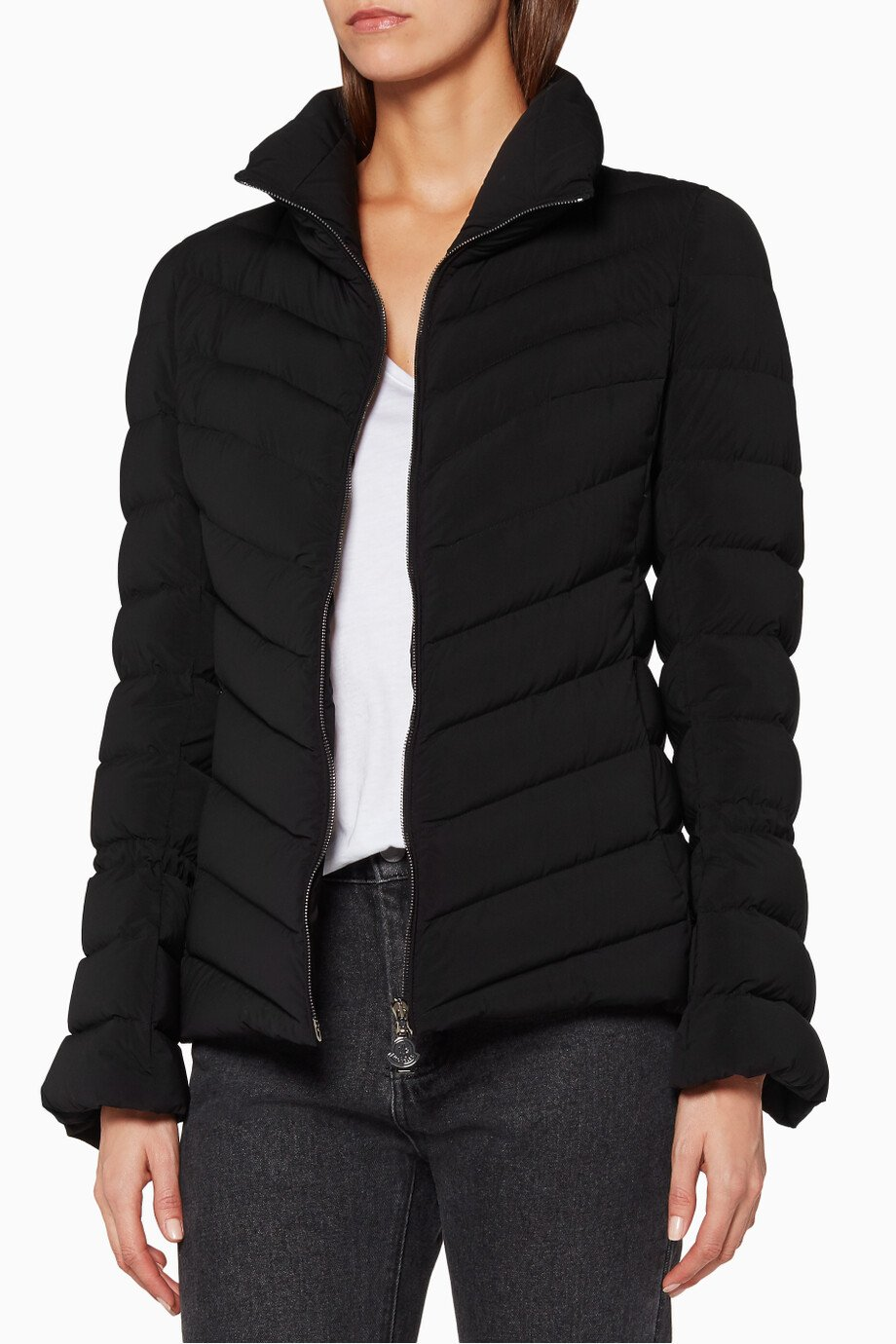 45aedb362 Shop Moncler Black Black Moncler Solanum Quilted Puffer Jacket for ...