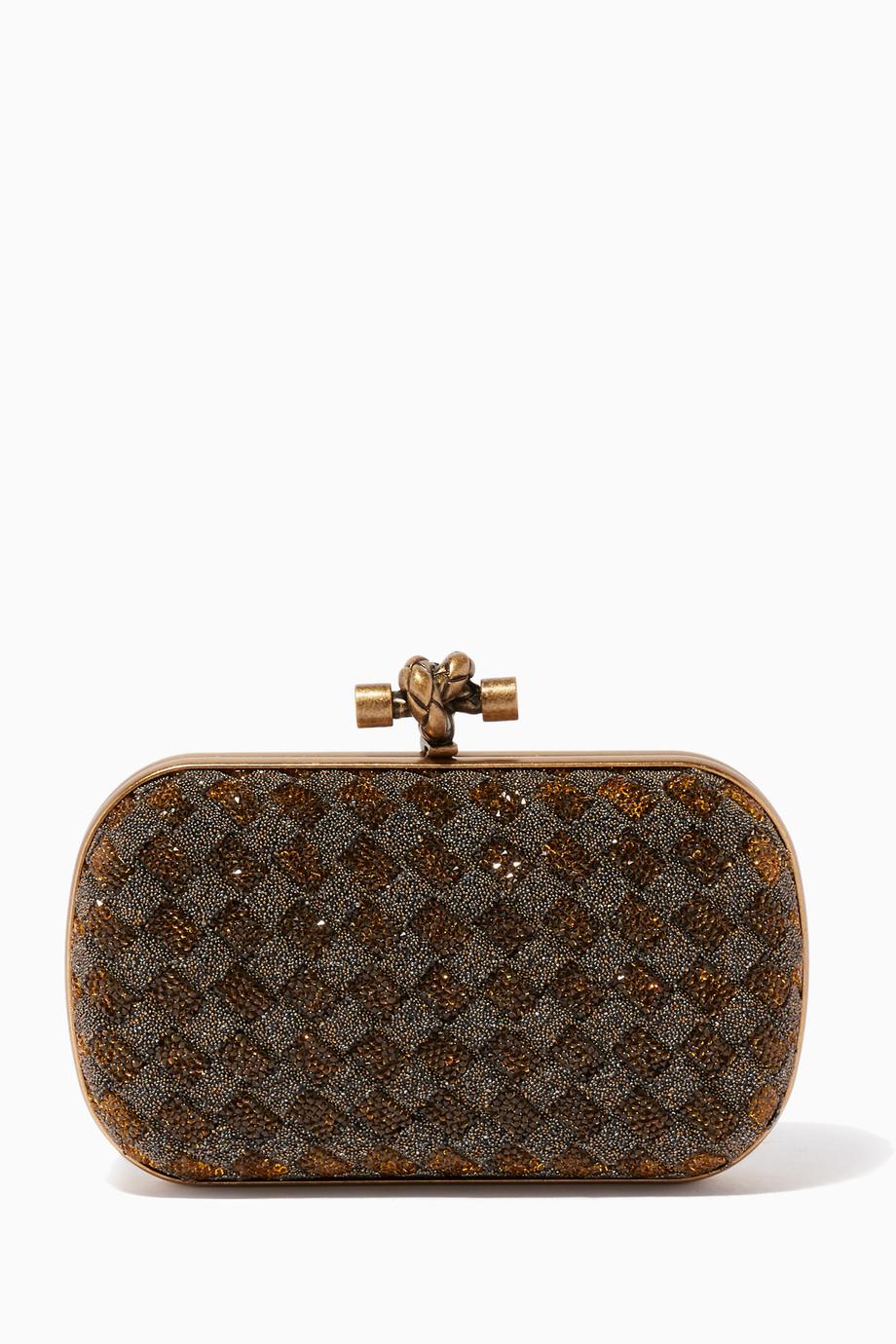Shop Bottega Veneta Gold Bronzo Crystal Knot Clutch for Women ... 117f47b152fef
