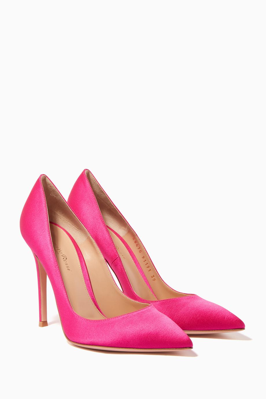 8557e81659 Shop Gianvito Rossi Pink Pink Gianvito Satin Pumps for Women ...