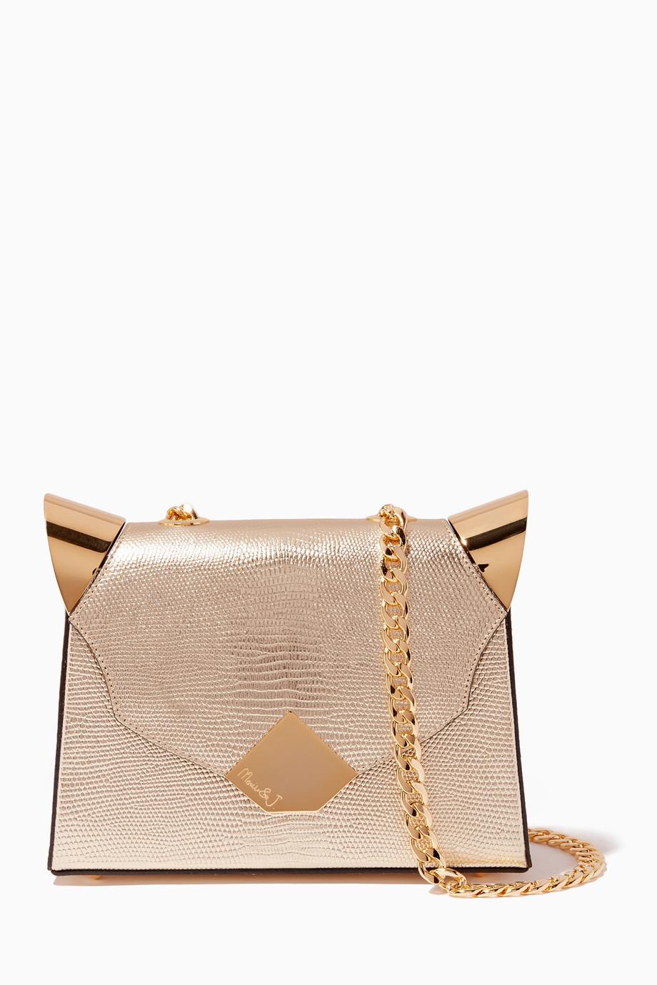 d8f000a4b8 Shop Moni   J Gold Gold Baby Marshall Lizard-Effect Shoulder Bag for ...