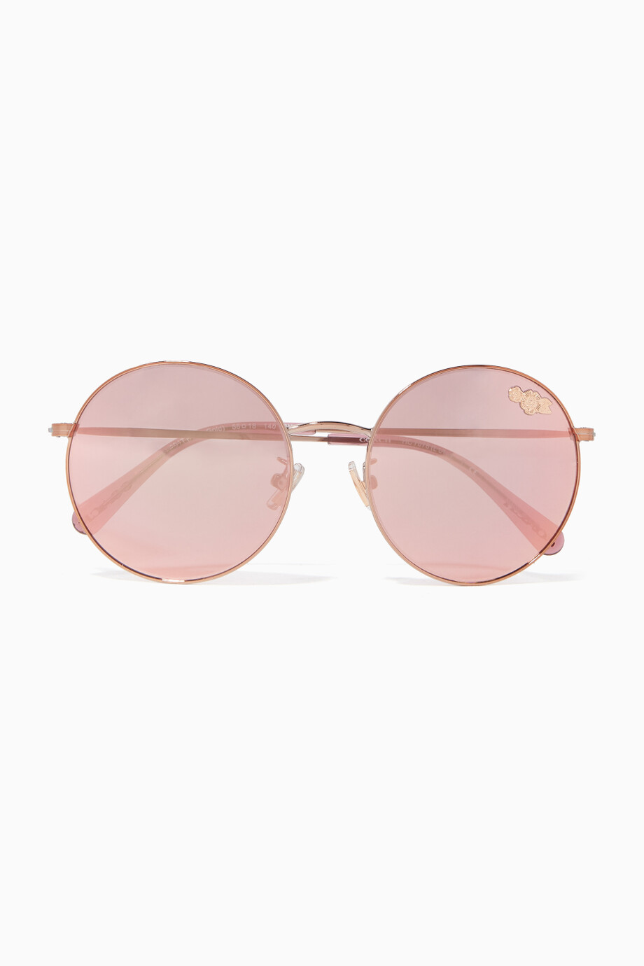 31363c291 Shop Coach Rose Gold Rose-gold Thin Metal Round-Frame Sunglasses for ...
