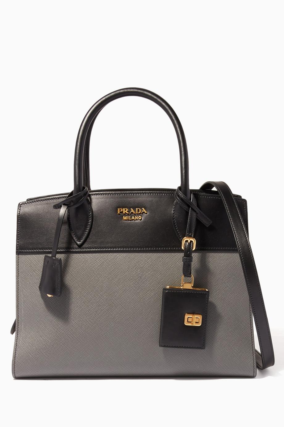 e2954f5533 Shop Prada Black Black & Grey Medium Esplanade Tote Bag for Women ...