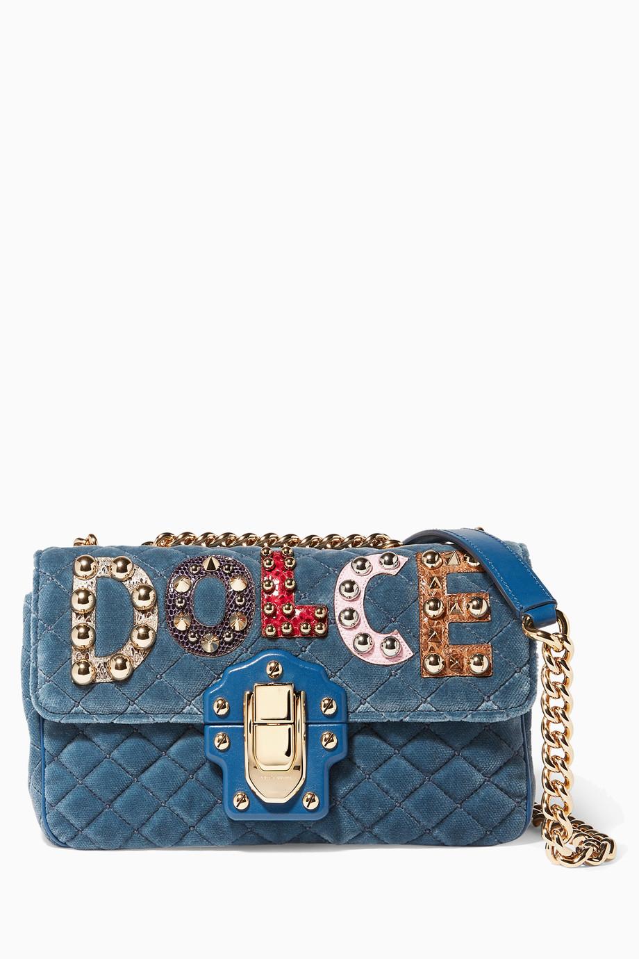 6434802d578a Shop Dolce   Gabbana Blue Teal Velvet Stud Embellished Lucia ...