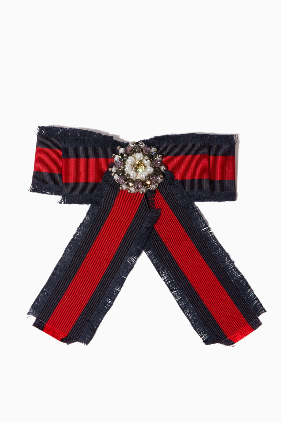 c17ee824f5 Shop Gucci Red Red & Blue Web Grosgrain Bow Brooch for Women | Ounass
