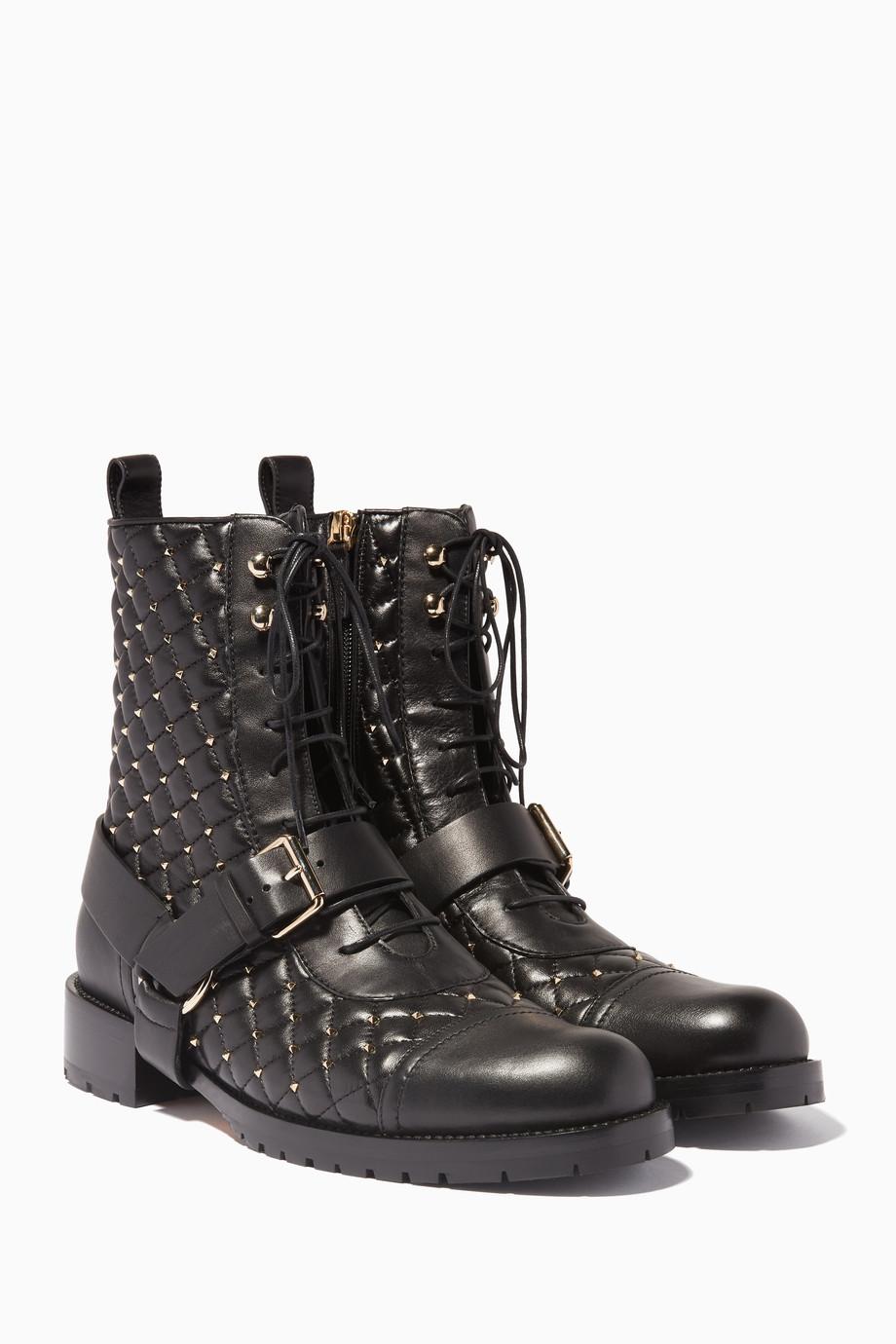 10c31fff24a Shop Valentino Black Black Rockstud Spike Combat Boots for Women ...