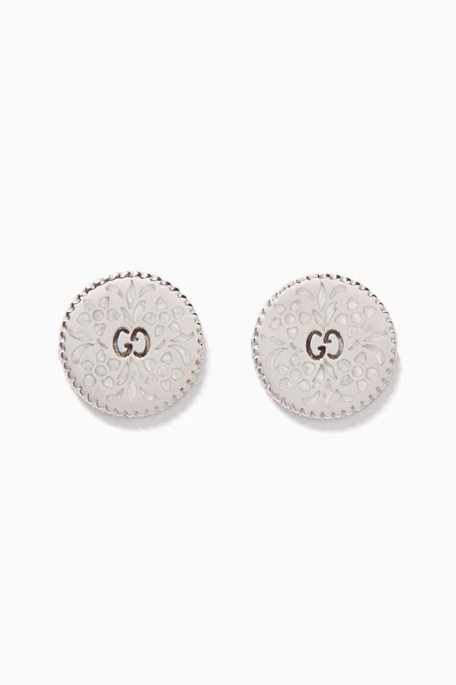 2e80777f138819 Shop Gucci Silver White-Gold & Enamel Icon Stud Earrings for Women ...