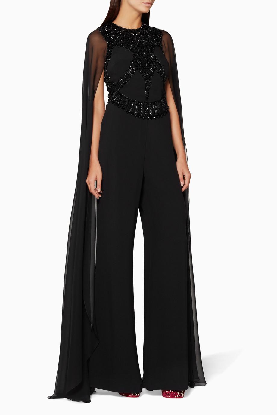 dbcb12858f5 Shop Elie Saab Black Black Embellished Wide-Leg Jumpsuit for Women ...