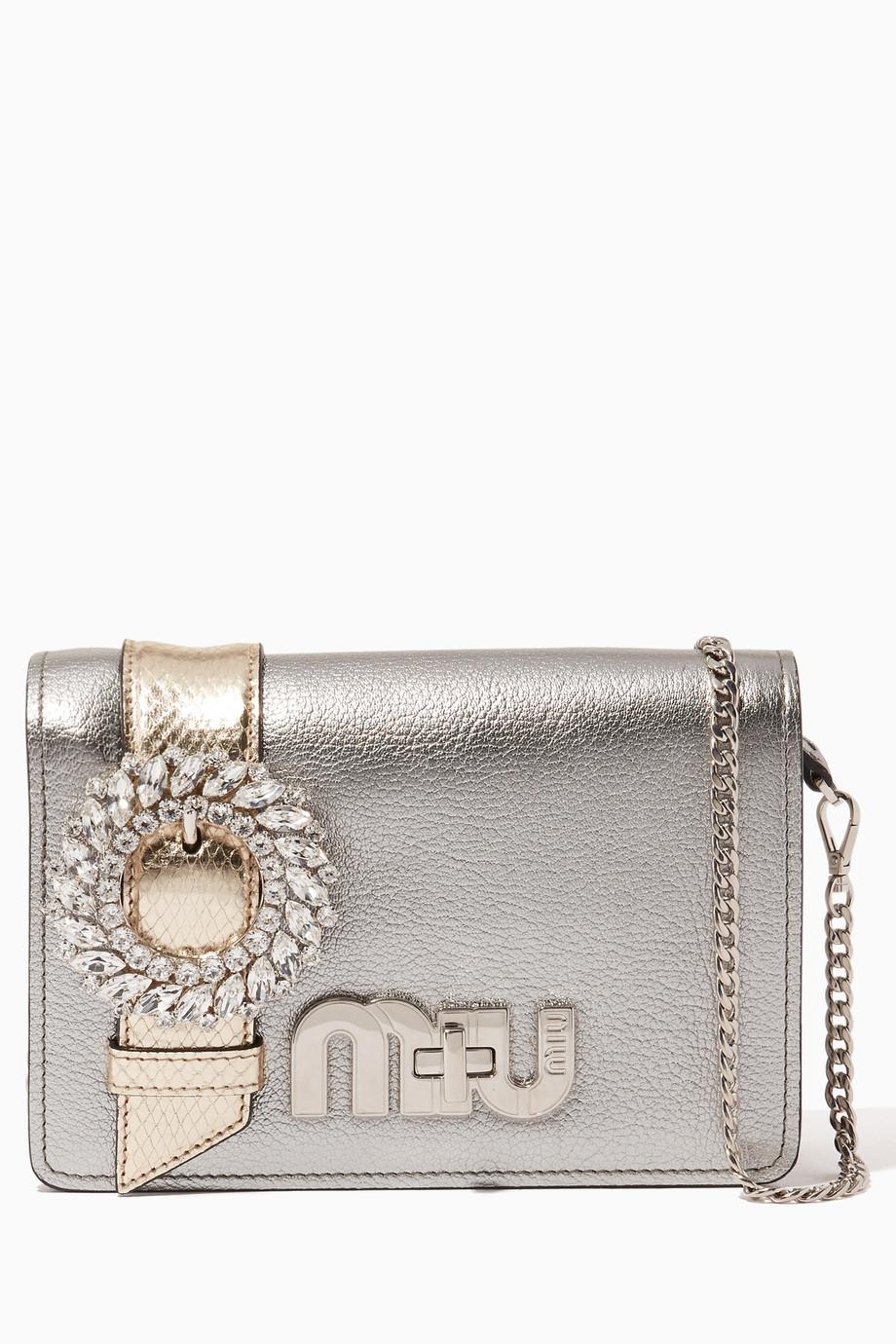 354d50df354 Shop Miu Miu Silver Silver Small My Miu Cross-Body Bag for Women ...