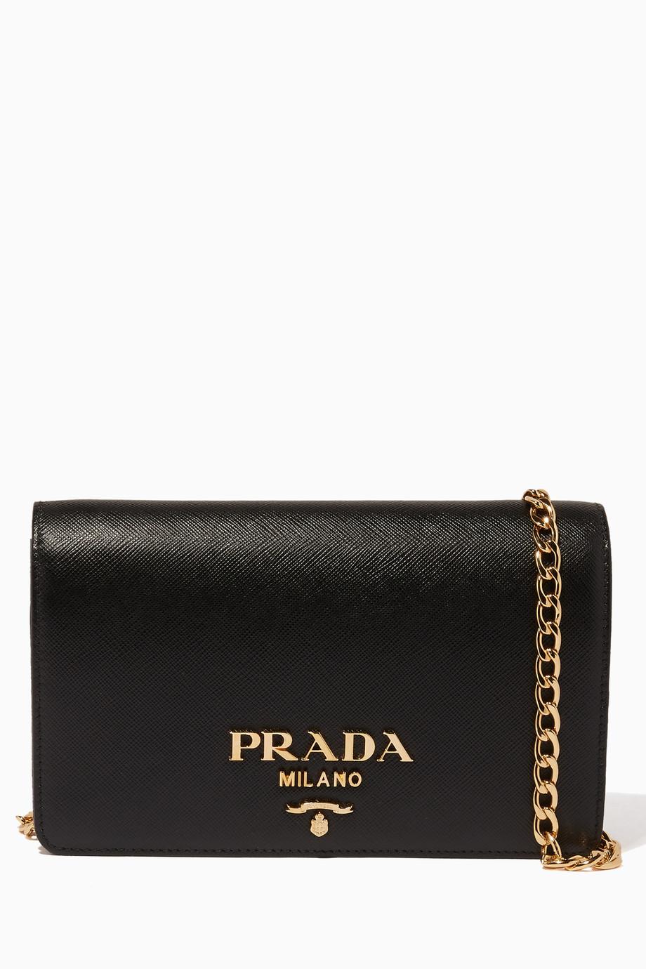 58fb3167c تسوق حقيبة كروس لوكس صغيرة سوداء Prada أسود للنساء   اُناس السعودية