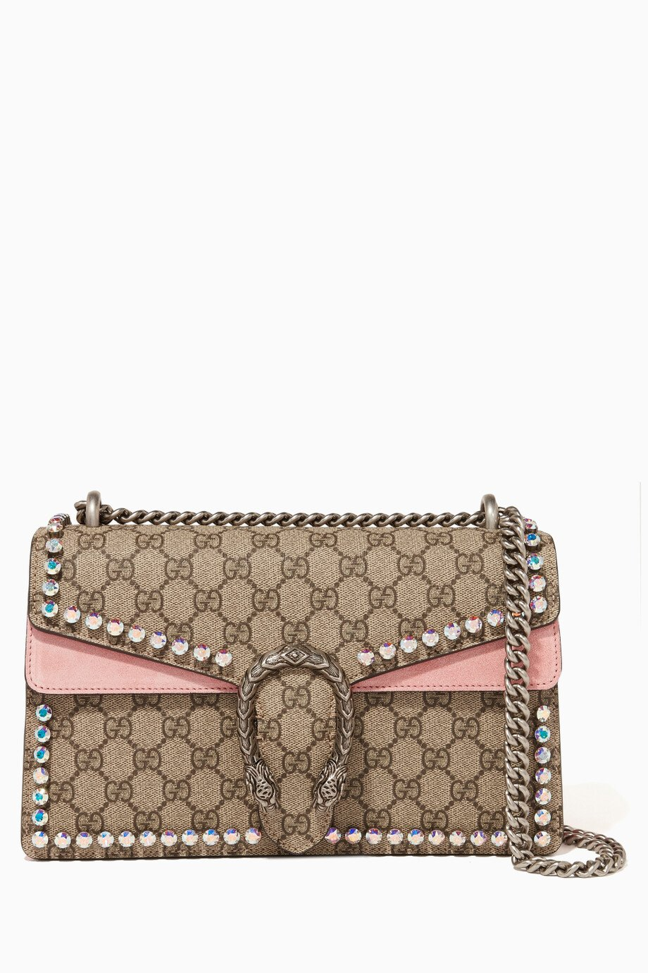 d3b11b3a3c891 Shop Gucci Pink Beige   Pink Dionysus GG Supreme Shoulder Bag for Women