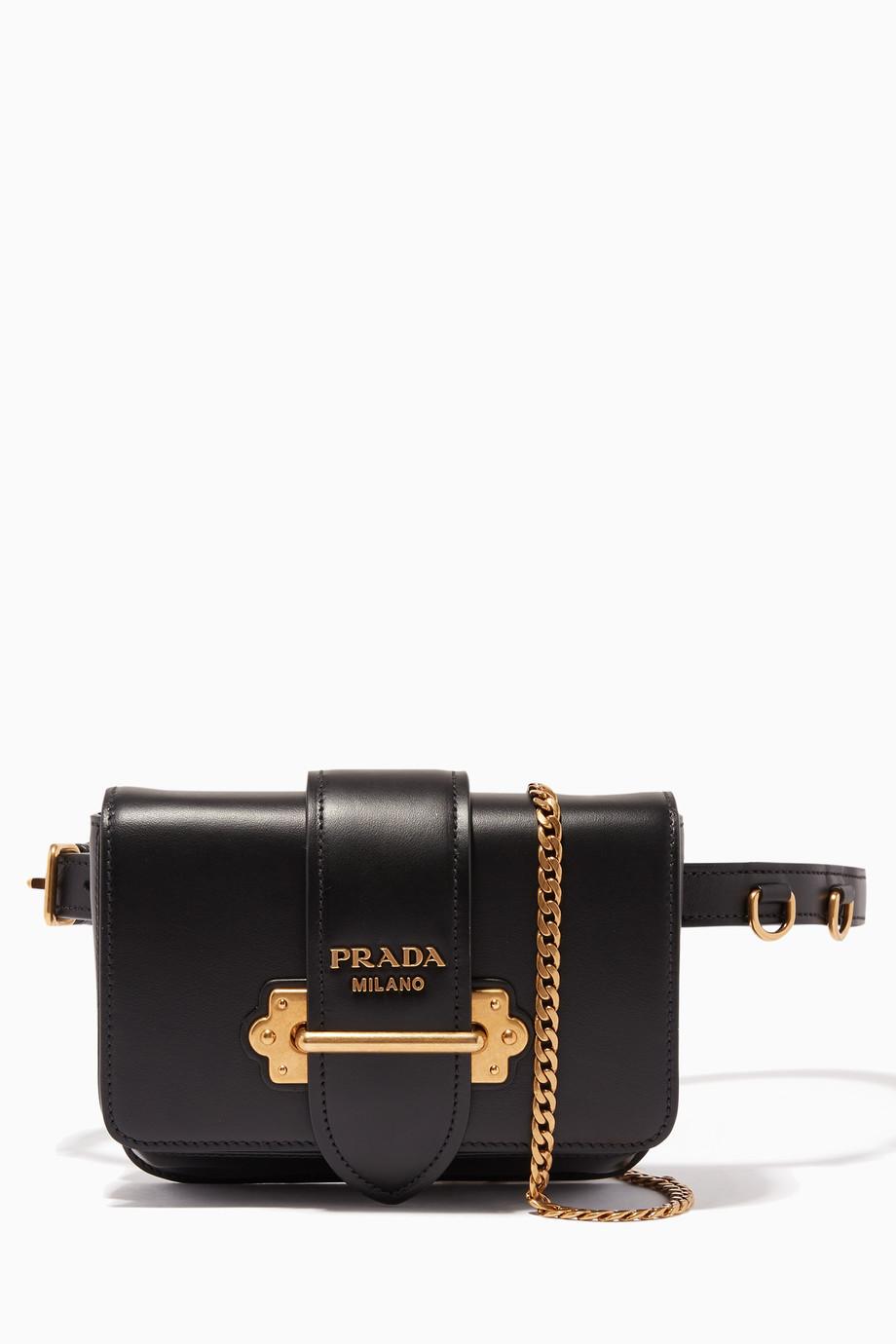 f202b4f434d8d1 Shop Prada Black Black Cahiers City Belt Bag for Women | Ounass Bahrain