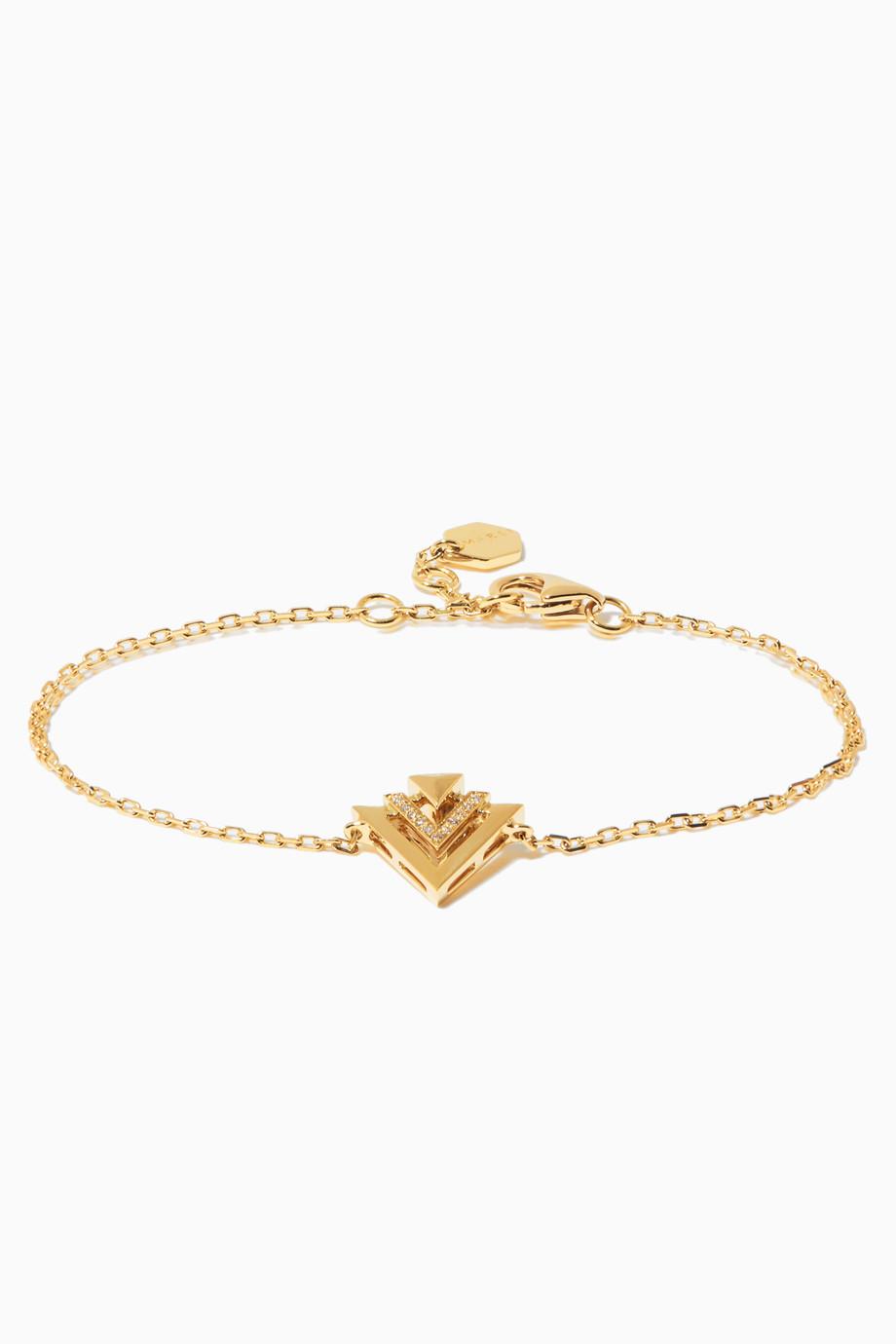 ec8a991f3 Shop Marli Yellow Yellow-Gold & Diamond Avant Bracelet for Women   Ounass