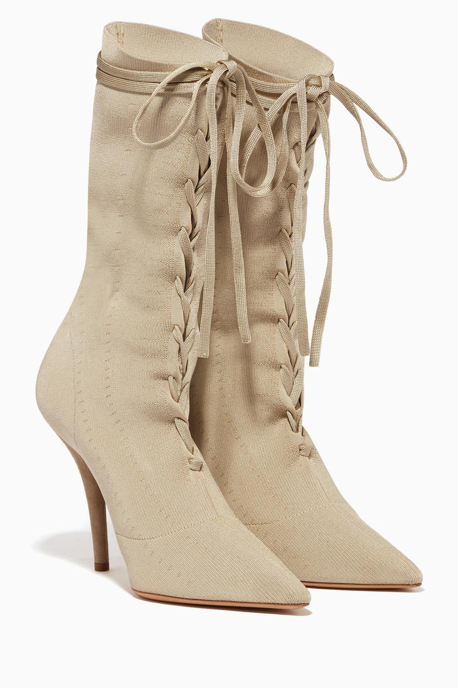 3cbdfcbede8 Shop Yeezy Brown Beige Lace-Up Sock Boots for Women