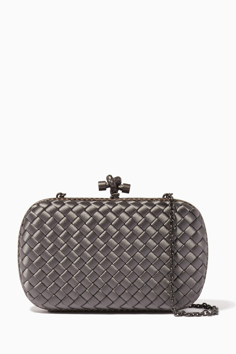96b57fee5bad Shop Bottega Veneta Grey Light-Grey Ayers Satin Chain Knot Clutch ...