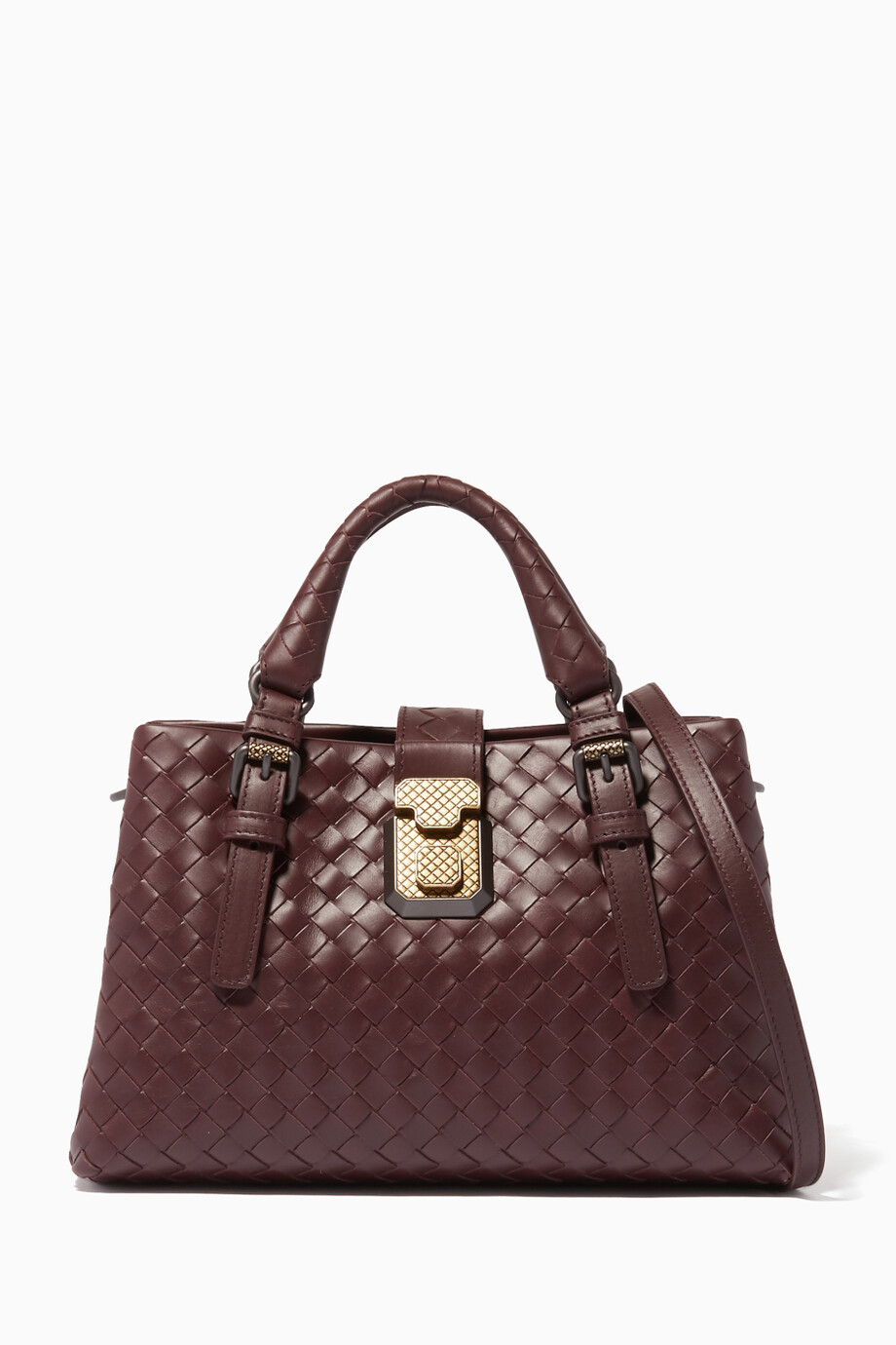 295b1b04a2 Shop Bottega Veneta Red Burungdy Mini Roma Intrecciato Leather Tote ...
