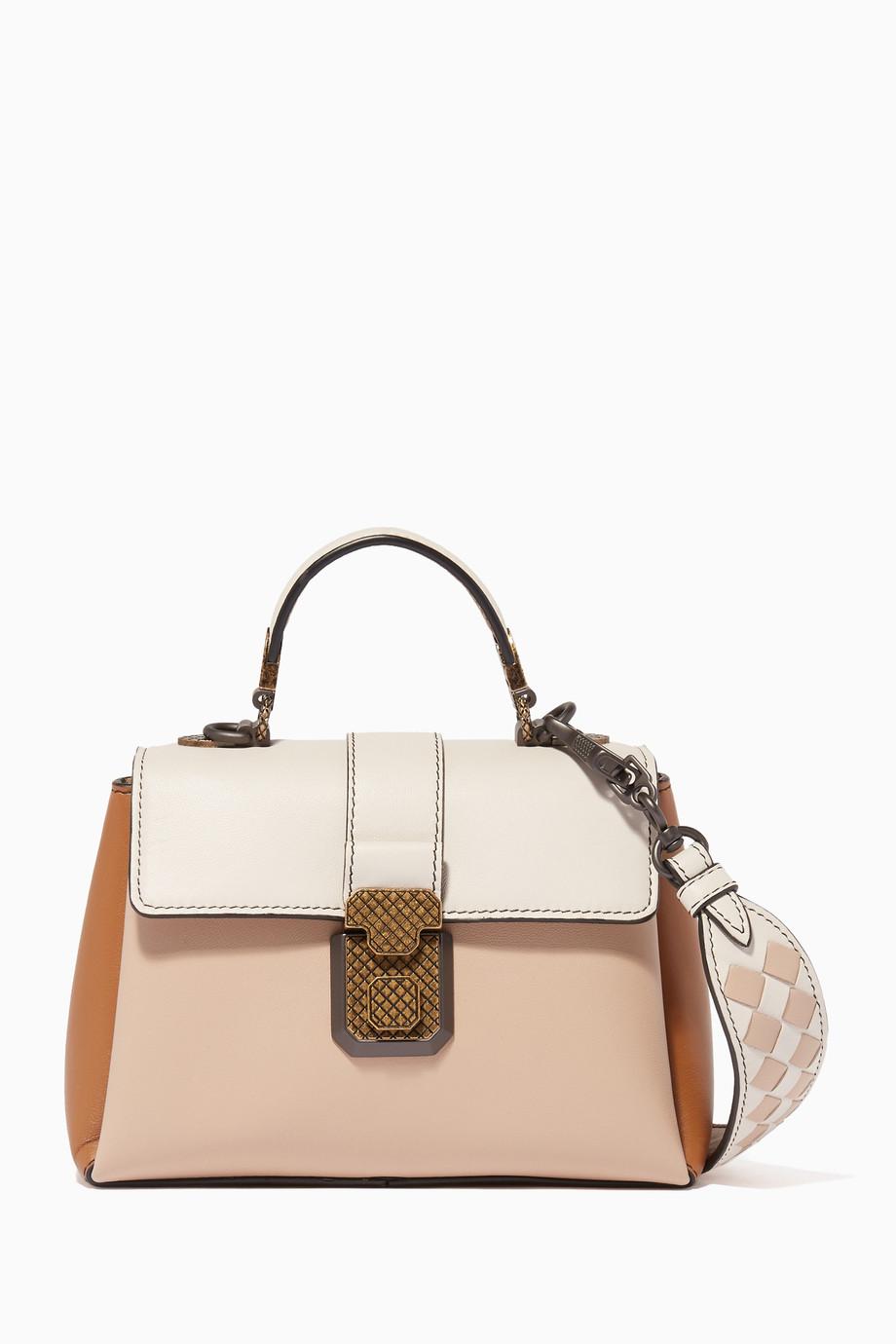 7d46b336b0c9 Shop Bottega Veneta Neutral Beige Mini Nappa Piazza Cross-Body Bag ...