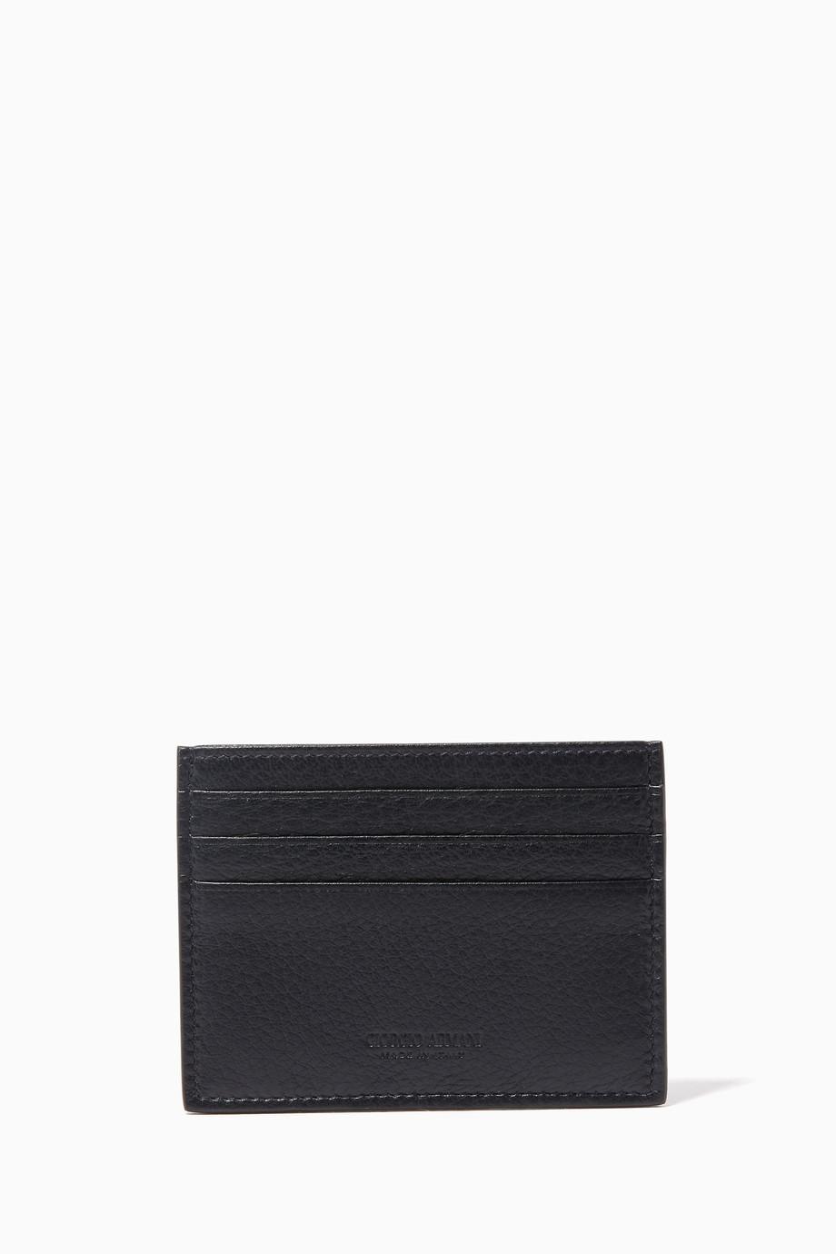 48c788cf95 Shop Armani Beauty Blue Grained-Leather Cardholder for Men | Ounass UAE