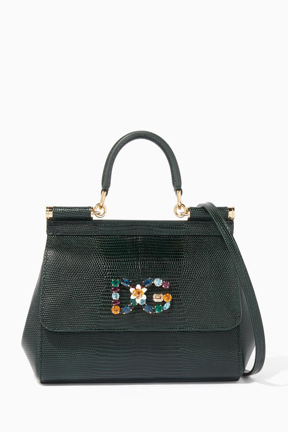 Shop Dolce   Gabbana Green Dark-Green Small Iguana-Effect Miss ... 29330ffdeed6a