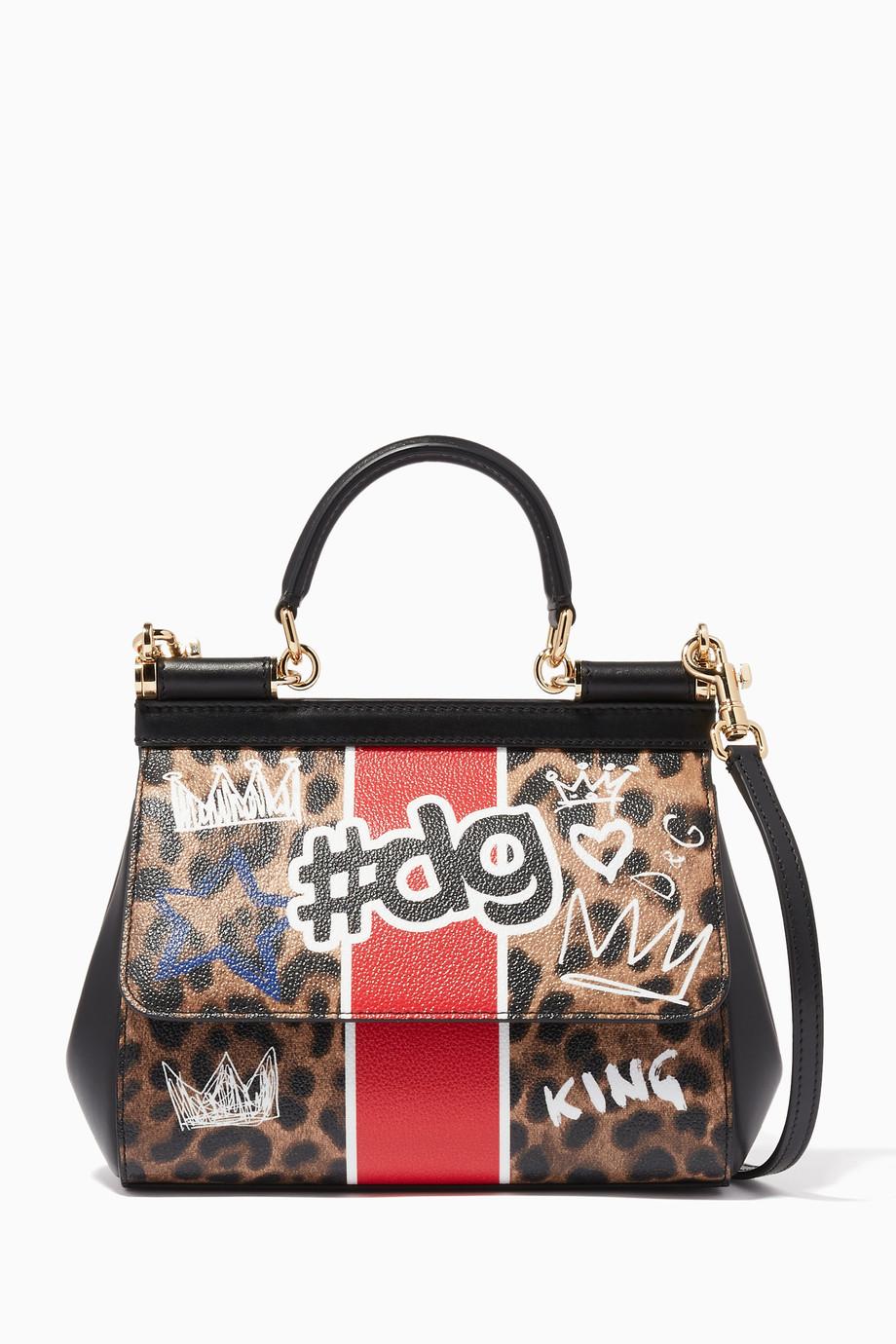 d2fd0a8f1c Shop Dolce & Gabbana Brown Leopard-Print Small Sicily Top Handle ...