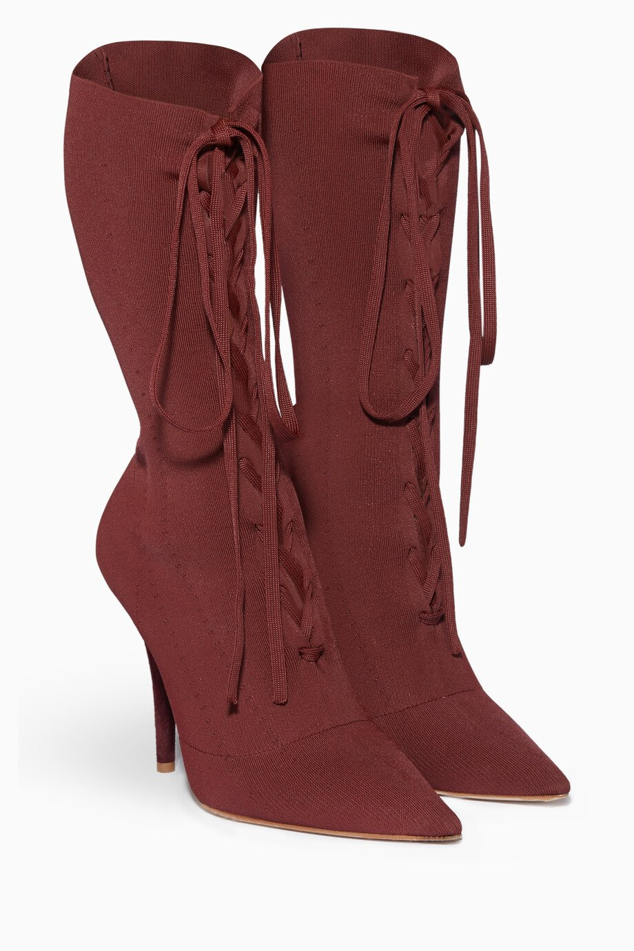 5fdd9311e Shop Yeezy Red Burgundy Lace-Up Boots for Women