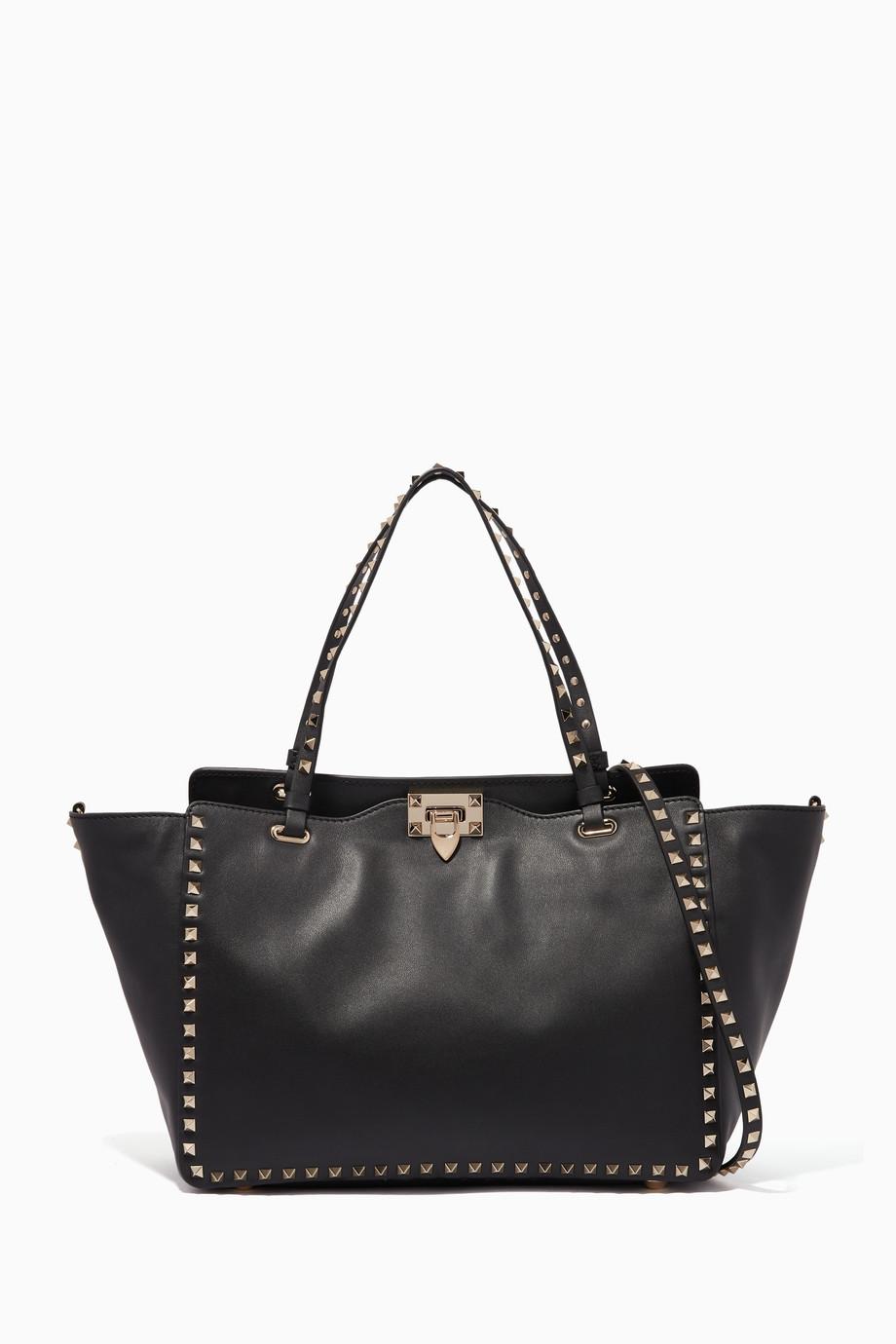 d1706a558494 Shop Valentino Black Black Medium Trapeze Rockstud Tote Bag for Women