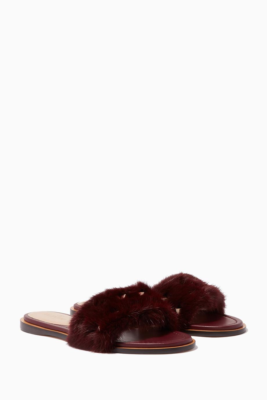 3d5a140c59f3 Shop Valentino Red Maroon Mink-Fur Rockstud Slides for Women ...