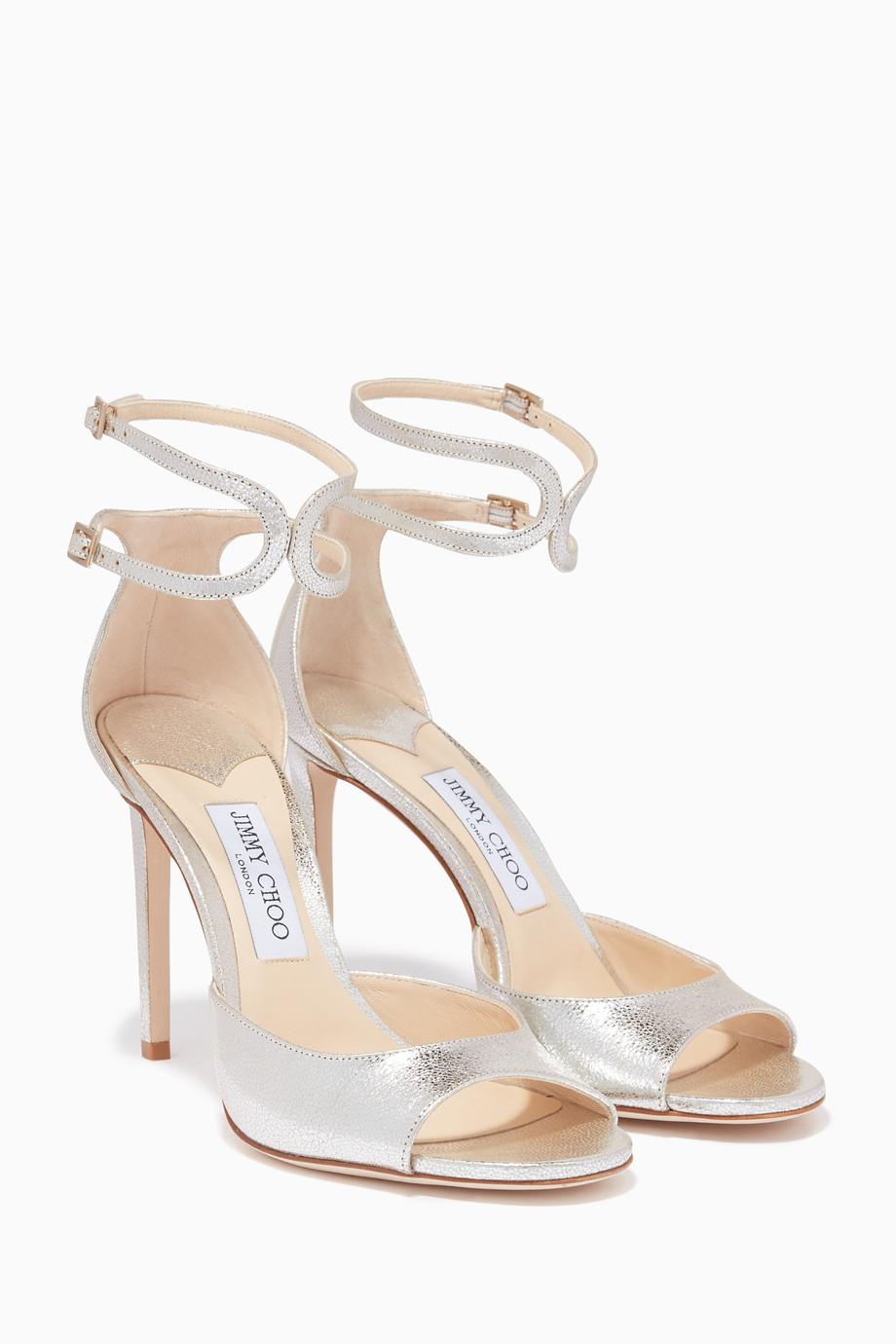 51cb107664e4 Shop Jimmy Choo Neutral Champagne Metallic Lane 100 Sandals for ...