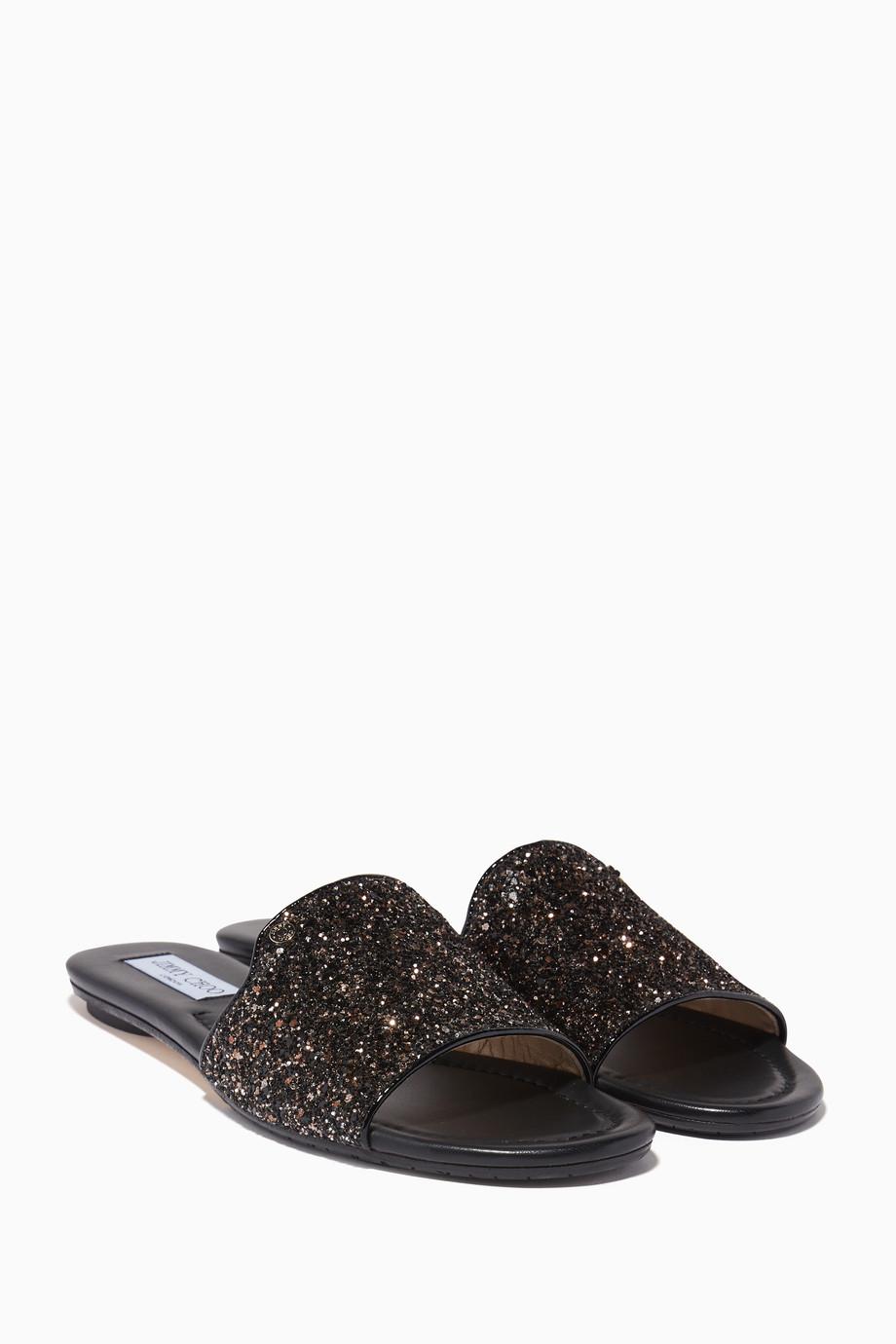 8650f059d2c Shop Jimmy Choo Black Bronze Glitter Nanda Slides for Women