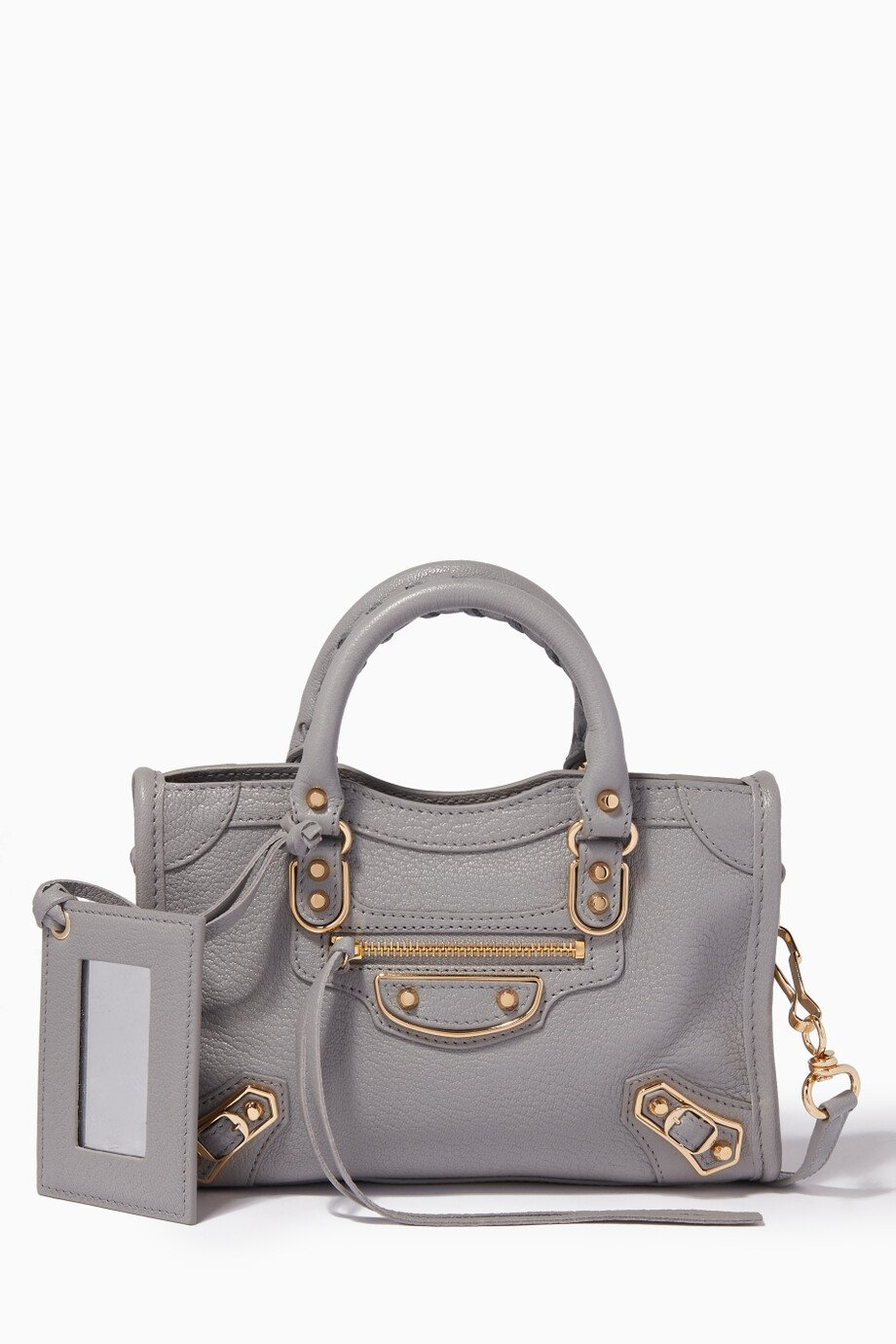 e3e8ecd872 Shop Balenciaga Grey Grey Nano Classic Metallic Edge City Cross ...